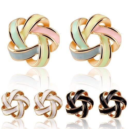 SONGAI Fashion Trend-Farben-Ohrringe Farbstreifen-Ohrringe Twisted-Spiral Wilder Ohrring Ohrstecker Frauen Schmuck, Farbe Name: Schwarz (Color : White)