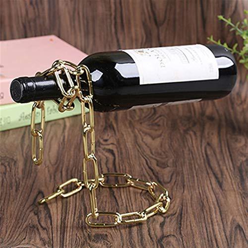 N\A Botellero Magic Metal Colgando Cadena de suspensión bandejas de Vino Europeo Retro Creativo Hecho a Mano de Restaurante Soporte de Soporte de Soporte de Soporte (Color : Golden Chain)
