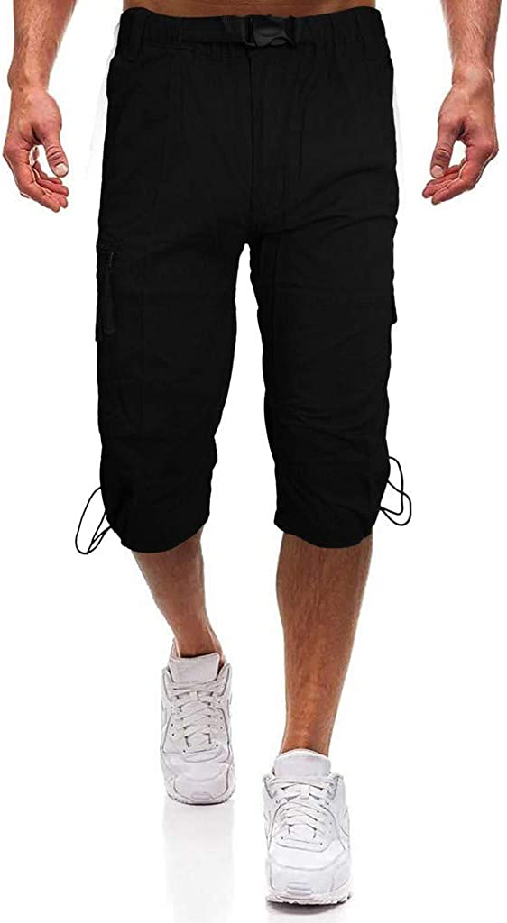Tooling Pants for Men Forthery Summer Rope Buckle Shorts Loose Casual Multi-pocket Beach Work Trouser Cargo Shorts
