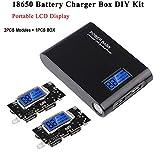 MakerHawk 18650-Battery Charger Box Kit de Bricolaje, Pantalla LCD portátil, Incluye 2 unids Dual USB 5V 1A 2.1A 18650-Módulo de PCB de Placa de Cargador con Estuche Negro para teléfono Celular