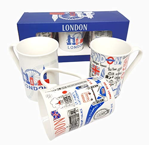 London Souvenirs Porcelain Mugs Set of 3 London, Mugs,...