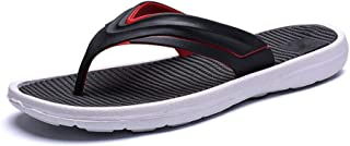 QinMei Zhou Summer Casual Slippers for Men Thong Flip Flops Sandals Slip on Rubber Strap Soft Flexible Antislip Outsole (Color : Black, Size : 7 UK)