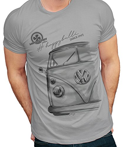 Russell T-Shirt Bulli T1 Oldtimer Oldschool Herren Grau (XL)