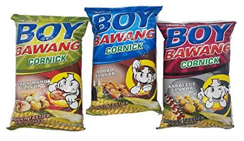 Boy Bawang Cornick Filipino Snacks Variety Pack Adobo, BBQ and Lechon Manok Flavor, 3.54 ounce, 1 Each Flavor