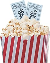 Gifts Delight Laminated 24x30 inches Poster: Popcorn Movie Pop Corn Snack Film Tickets Theater Food Cinema Entertainment White Fun Box Stripes Red Blue Eating Tv Container Buttered Design Television