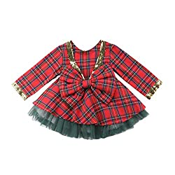 Red Plaid Dress+ Green Tutu Kids Outfits