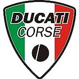 myrockshirt Motorradaufkleber Ducati Corse Italien Fahne Logo ca.15 cm Aufkleber Sticker Decal Profi-Qualität ohne Hintergrund Bike Tuning