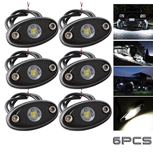 LEDMIRCY LED Rock Lights White 6PCS Kit for Off Road Truck Auto Car Boat RZR ATV SUV Waterproof High Power Neon Trail Rig Lights Shockproof(Pack of 6,White)