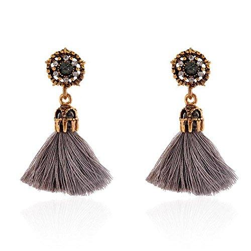 Pendientes Mujer FAMILIZO Estilo vintage Rhinestones Crystal Tassel Dangle Stud Pendientes de joyería de moda (Gris)