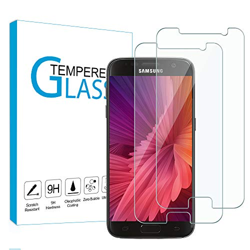 Carantee [2 unidades] Protector de pantalla de cristal templado para Samsung Galaxy S7, protector de pantalla HD de vidrio templado, dureza 9H, ultra transparente, antiburbujas, sin burbujas