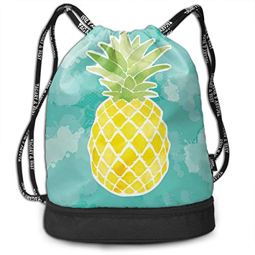 NEPower Drawstring Backpack Best Pineapples Men & Women Waterproof Sports Soccer Bag With Front Zipper And Wet Dry Separated Sackpack String Bag