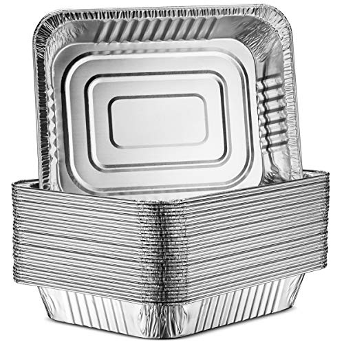 30-Pack Aluminum Half-Size Roasting Pans - Super-Thick 9x13' Standard Size Chafing Pans Tins - Eco-Friendly Recyclable Aluminum - Portable Food Storage Containers - By MontoPack (Aluminum)