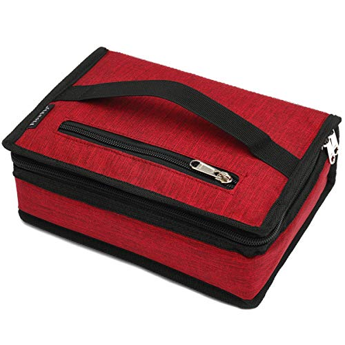 FlowFly, kleine isolierte Lunchbox, tragbar, weiche Tasche, Mini-Kühltasche, Thermo-Tasche, mit Griff, für Arbeit und Schule, Rot