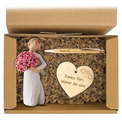 Geschenkset 2-teilig zum Muttertag/Willow Tree Figur/Windlicht/Danke/Muttertag/Geburtstag/Geschenk/Frauen