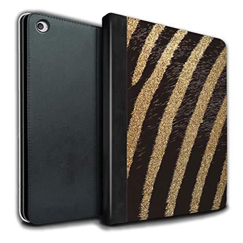Stuff4 Tablet Coque pour Apple iPad Air 2 Motif Imprimé Animal Mode Zèbre Paillettes Or Désign Retourner PU Faux Cuir Etui Housse Case