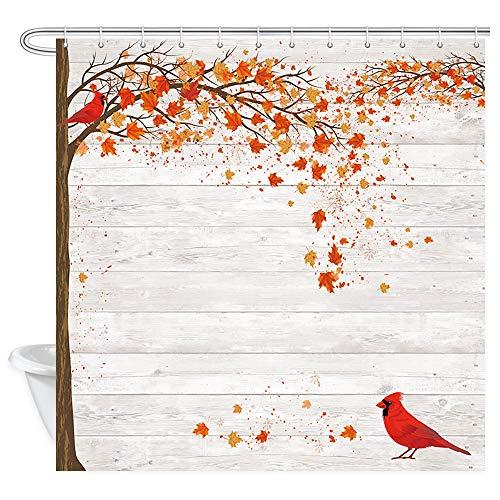 JAWO Fall Shower Curtain Farmhouse Decor, Autumn Maple Leaves Cardinal Bird on Gray Wood Country Barn Wall, Autumn Season Art Fabric Bathroom Shower Curtains, 69X70 inches