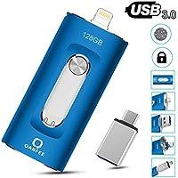QARFEE 128GB USB 3.0 OTG Flash Drive for iPhone (Blue)