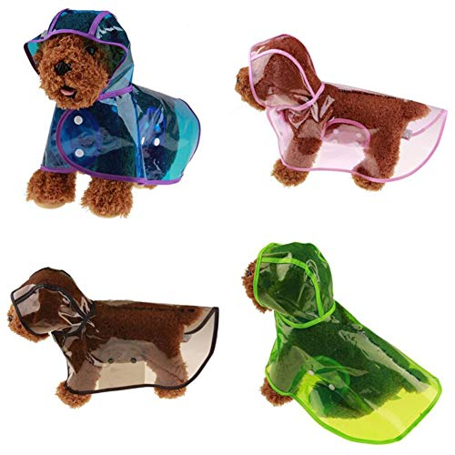 Catkoo Hunde-Regenmantel, Regenmantel, Sommer-Sonnenschutz, dünne Hundejacke, wasserdicht, für Hunde, Welpen, Outdoor-Jacke, süße Kapuzenkleidung, Blau, Größe L