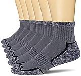 APTYID Men's Quarter Athletic Performance Cushion Running Socks, Grey, Sock Size 10-13, 6 Pairs