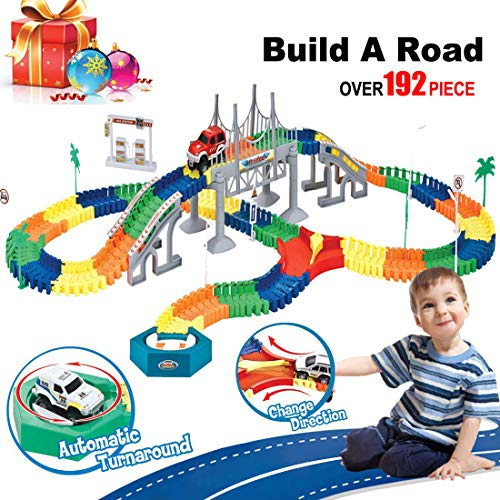 Train Track,Car Race Tracks for Boys,Build A Road Toy,Flexible Tracks Playset,192 Piece Large Set,Bridge,Rotating Disc,Y Cross,Christmas Birthday Gift for Age 2 3 4 5 6 Years Old Kids Boy Girl Toddler