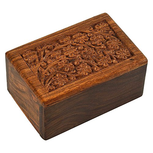 Beautifully Handmade & Handcrafted Tree of Life Engraving Wooden Urns for Human Ashes Adult by - Wooden Cremation Urns for Ashes Engraving, Wooden Box (5 X 3 X 2)