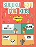 Sudoku 4x4 For Kids Jumbo size 120 printable: And Blank Comic Book Templates : worksheets Easy to Hard Puzzles for kids teens Kindergarten ages 4-8 (Children's Activity Books)