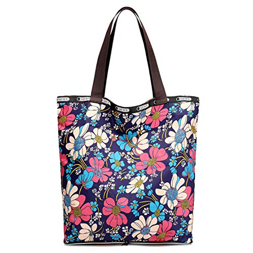 Nylon Tote Bag Large Capacity Shopping Bag Foldable Storage Bag Shoulder Bag Handbag Gym Bag Mommy Bag(Size:34 * 13 * 38cm,Color:Blue flower)