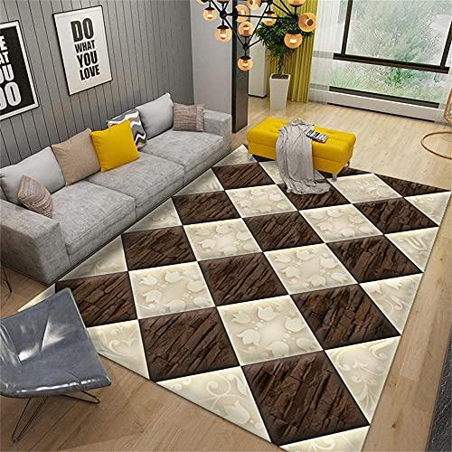 Suave Uso doméstico El Dormitorio Moqueta Marrón Alfombra Moderna de salón marrón Cuadrado Simple Dormitorio Alfombra Anti-ácaros Antideslizante La Alfombra 50x80cm Alfombra 1ft 7.7''X2ft 7.5''