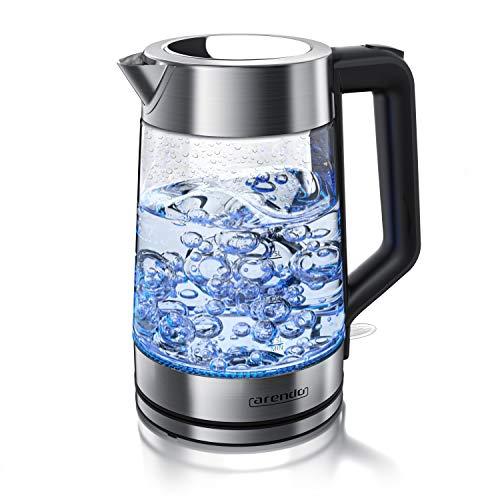 arendo - Hervidor de Agua eléctrico de 1,7 litros - 2200W - Base 360° - Filtro antical extraíble - Iluminación Interior LED Azul - Acero Inoxidable - Apago automático - Protección sobrecalentamiento