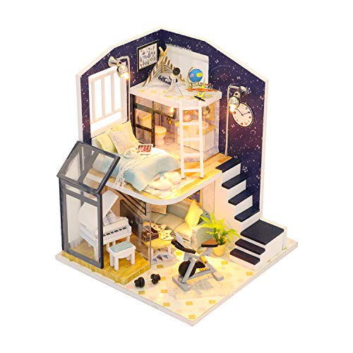 Flever Dollhouse Miniature DIY House Kit Creative Room with Furniture for Romantic Valentine's Gift-Shinning Star