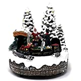 Allgala Crafted Polyresin Christmas House Collectable Figurine with USB and Battery Dual Power Source-Moving Train and Photo with Santa-XH93408