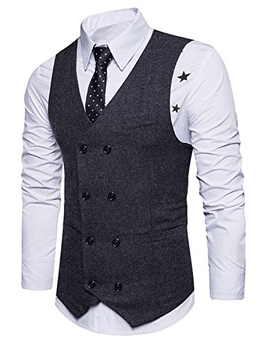 Boom Fashion Hombre Chaleco Blazers Traje Formal Negocios Slim Fit Waistcoat (medium, Negro)