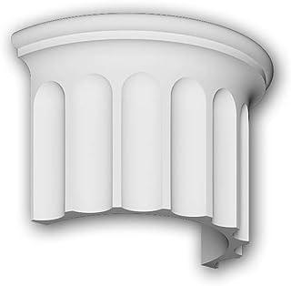 Segmento de media columna Profhome 416003 Moldura de fachada Columna Elemento de fachada estilo iónico blanco