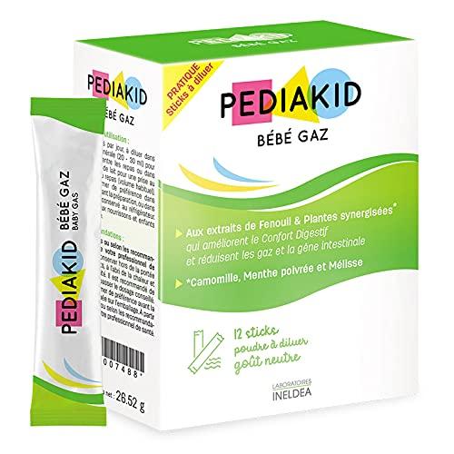 PEDIAKID - Bébé Gaz Sticks - Aide à Réduire les Gaz des Nourrissons et des Enfants en Bas Âge - Améliore le Confort Intestinal - Facile à Utiliser - Étui de 12 sticks de Poudre à Diluer