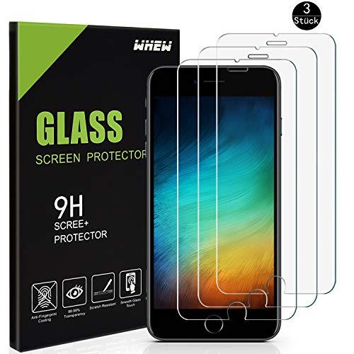Whew Panzerglasfolie Schutzfolie Kompatibel iPhone 7 Plus/8 Plus,[3 Stück] 9H Härtegrad HD Ultra Transparent Displayschutz,Anti-Öl,Kratzen und Blasenfrei,3D Touch Kompatibel Panzerglasfolie