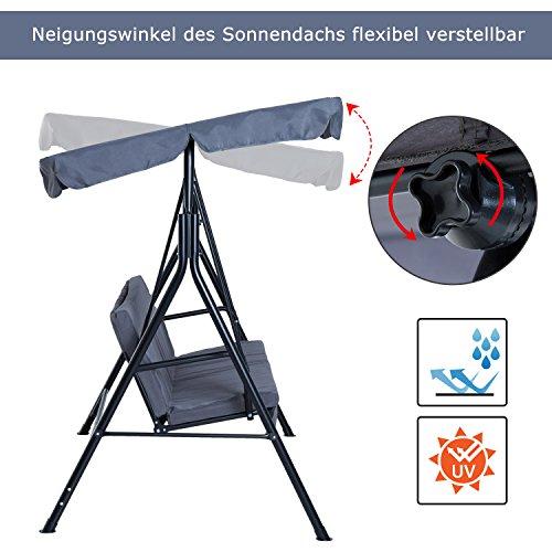 Outsunny Hollywoodschaukel Gartenschaukel Schaukelbank 3-Sitzer mit Dach Stahl Grau 172x110x152cm - 2