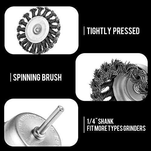 LAIWOO Twist Knot Wire Wheel Brush Crimped Cup Wire Wheels Brush Set for Drill with 1/4-Inch Shank for Rust Removal, Corrosion and Paint (6 Pack)