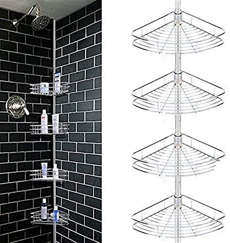 Ducha Caddy, 4 Niveles de Ducha de Metal Polo Caddy Shelf Rack Baño Baño de baño Organizador de Almacenamiento (Color : Silver)