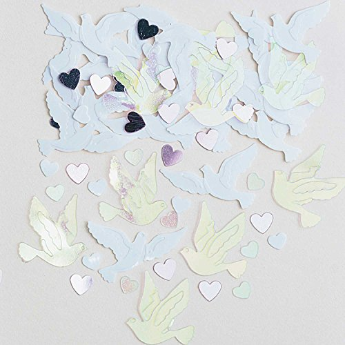amscan 9900845 14 g Mariage colombes en Relief Confettis métalliques