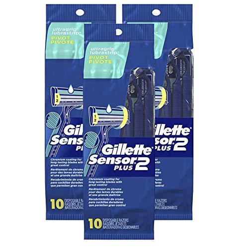 Gillette Sensor2 Plus Pivoting Head Men's Disposable Razors, 10 Count (Pack of 3)
