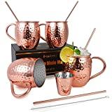 Beer Glasses Moscow Mule Mugs, Set of 4, 16 oz, HandCrafted Food Safe Pure Solid Beer Mugs Wine Tumbler Cups Glasses, Gift Set With Cocktail Copper Straws, Shot Glass, Straw Brush, Rose Gold