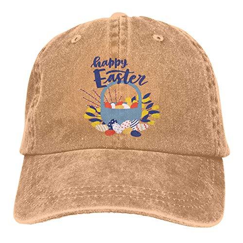 Jopath Gorra de béisbol Canasta de Pascua con huevos, regalo de Pascua fresco Deportes de viaje Gorra ajustable de algodón lavado-uno-Color-