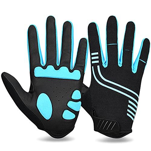 Cevapro Fahrradhandschuhe Männer rutschfeste und Stoßdämpfende Gel MTB Fitness Handschuhe für Damen Herren Radsport Downhill Mountainbike (Blau-Schwarz, XXL)