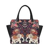 InterestPrint Mandala Elephants Lovely Peacocks Handbags for Women Ladies Purses Top Handle PU Leather Shoulder Bags