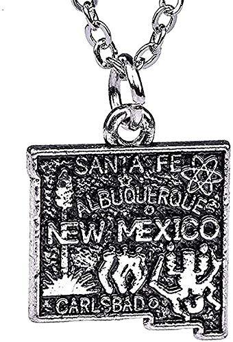 Collar para mujer Collar para hombre Collar con colgante Anzuelo Mapa del estado de EE. UU. Collar de México Colgante Esquema Estado Ch Chapado en plata antigua Regalos Presente Niñas Niños Collar Col