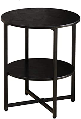 Small Coffee Table Bedside Table Sofa Side Cabinet Small Coffee Table Removable Small Tables Simple Corner Table Living Room Bedroom Small Tea Table (Color : Black, Size : 18.50 * 15.74inch)