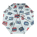 Retro Seamless Pattern With Antique Tech Radio Compact Travel Umbrella Windproof Reinforced Canopy