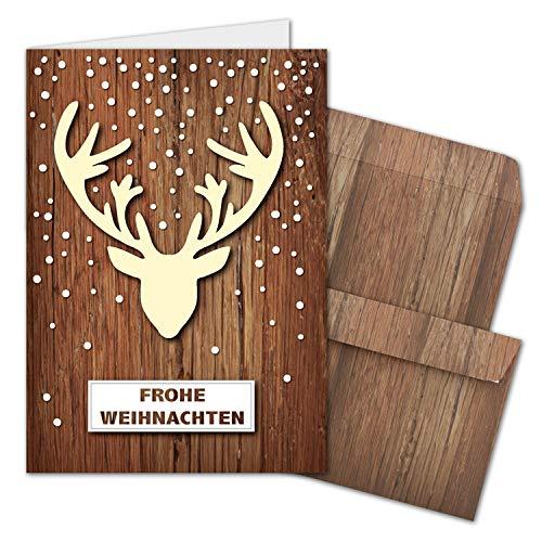 10x Weihnachtskarten-Set DIN A6 mit Elch-Motiv - Faltkarten mit passenden Umschläge in dunkelbrauner Holz-Optik - Weihnachtsgrüße für Firmen und Privat