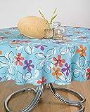 ESSE HOME - Mantel para mesa Primavera Verano – Redondo para 4 personas – Mezcla de algodón – Fabricado en Italia – Producto artesanal – Paloma (0/120, azul)