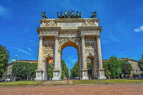 Rompecabezas para Adultos Italia Arco Della Pace Puzzle 1000 Piezas Recuerdo de Viaje de Madera